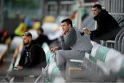 21 August 2020; Injured Shamrock Rovers players, from left, Greg Bolger, Sean Boyd and Sean Kavanagh watch on during the SSE Airtricity League Premier Division match between Shamrock Rovers and Shelbourne at Tallaght Stadium in Dublin. Photo by Stephen McCarthy/Sportsfile