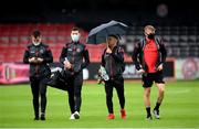 22 August 2020; Bohemians players, from left, Michael Barker, Dinny Corcoran, Keith Ward and JJ Lunney arrive prior to the SSE Airtricity League Premier Division match between Bohemians and St Patrick's Athletic at Dalymount Park in Dublin. Photo by Stephen McCarthy/Sportsfile