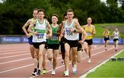 22 August 2020; David Rooney of Raheny Shamrock AC, Dublin, left, and Liam Harris of Togher AC, Cork, lead the field whilst competing in the Men's 5000m heats during Day One of the Irish Life Health National Senior and U23 Athletics Championships at Morton Stadium in Santry, Dublin. Photo by Sam Barnes/Sportsfile