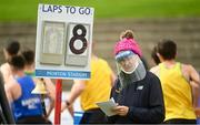 22 August 2020; Official Anne McHugh keeps count of the laps whilst wearing PPE during Day One of the Irish Life Health National Senior and U23 Athletics Championships at Morton Stadium in Santry, Dublin. Photo by Sam Barnes/Sportsfile