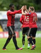 22 August 2020; Andre Wright celebrates with his Bohemians team-mate Keith Ward, right, after scoring his side's second goal during the SSE Airtricity League Premier Division match between Bohemians and St Patrick's Athletic at Dalymount Park in Dublin. Photo by Stephen McCarthy/Sportsfile