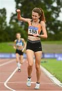 22 August 2020; Holly Brennan of Cilles AC, Meath, celebrates winning the Junior Women's 5000m during Day One of the Irish Life Health National Senior and U23 Athletics Championships at Morton Stadium in Santry, Dublin. Photo by Sam Barnes/Sportsfile