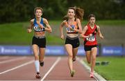 22 August 2020; Holly Brennan of Cilles AC, Meath, centre, on her way to winning the Junior Women's 5000m, ahead of Celine Gavin of Celtic DCH AC, Dublin, left, and Aoife Coffey of Lucan Harriers AC, Dublin, during Day One of the Irish Life Health National Senior and U23 Athletics Championships at Morton Stadium in Santry, Dublin. Photo by Sam Barnes/Sportsfile