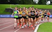 22 August 2020; Michelle Finn of Leevale AC, Cork, centre, on her way to winning the Women's 5000m, ahead of Catherina Mullen of Metro/St. Brigid's AC, Dublin, left, and Nakita Burke of Letterkenny AC, Donegal, right, during Day One of the Irish Life Health National Senior and U23 Athletics Championships at Morton Stadium in Santry, Dublin. Photo by Sam Barnes/Sportsfile