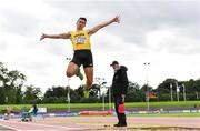 22 August 2020; Shane Howard of Bandon AC, Cork, on his way to winning the Men's Long Jump during Day One of the Irish Life Health National Senior and U23 Athletics Championships at Morton Stadium in Santry, Dublin. Photo by Sam Barnes/Sportsfile