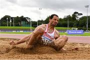 22 August 2020; Adam McMullen of Crusaders AC, Dublin, competing in the Men's Long Jump during Day One of the Irish Life Health National Senior and U23 Athletics Championships at Morton Stadium in Santry, Dublin. Photo by Sam Barnes/Sportsfile