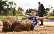 22 August 2020; Eoin Keenan of Emo/Rath AC, Laois, competing in the Men's Long Jump during Day One of the Irish Life Health National Senior and U23 Athletics Championships at Morton Stadium in Santry, Dublin. Photo by Sam Barnes/Sportsfile