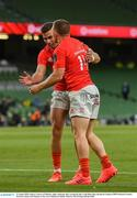 22 August 2020; Andrew Conway of Munster, right, celebrates after scoring his side's try with Shane Daly during the Guinness PRO14 Round 14 match between Leinster and Munster at the Aviva Stadium in Dublin. Photo by David Fitzgerald/Sportsfile