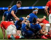 22 August 2020; Leinster players celebrate their side's first try scored by Cian Healy during the Guinness PRO14 Round 14 match between Leinster and Munster at the Aviva Stadium in Dublin. Photo by Ramsey Cardy/Sportsfile