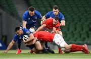 22 August 2020; Rónan Kelleher of Leinster is tackled by Tommy O'Donnell of Munster during the Guinness PRO14 Round 14 match between Leinster and Munster at the Aviva Stadium in Dublin. Photo by Ramsey Cardy/Sportsfile
