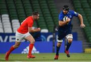 22 August 2020; Scott Fardy of Leinster in action against JJ Hanrahan of Munster during the Guinness PRO14 Round 14 match between Leinster and Munster at the Aviva Stadium in Dublin. Photo by Ramsey Cardy/Sportsfile