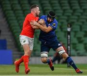 22 August 2020; Scott Fardy of Leinster is tackled by JJ Hanrahan of Munster during the Guinness PRO14 Round 14 match between Leinster and Munster at the Aviva Stadium in Dublin. Photo by Ramsey Cardy/Sportsfile