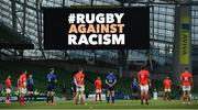22 August 2020; Players from both sides observe a moment for Rugby Against Racism prior to the Guinness PRO14 Round 14 match between Leinster and Munster at the Aviva Stadium in Dublin. Photo by David Fitzgerald/Sportsfile