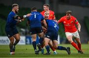 22 August 2020; Jeremy Loughman of Munster is tackled by Rónan Kelleher, right, and Cian Healy of Leinster during the Guinness PRO14 Round 14 match between Leinster and Munster at the Aviva Stadium in Dublin. Photo by David Fitzgerald/Sportsfile