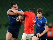 22 August 2020; James Lowe of Leinster is tackled by Tommy O'Donnell of Munster during the Guinness PRO14 Round 14 match between Leinster and Munster at the Aviva Stadium in Dublin. Photo by Stephen McCarthy/Sportsfile