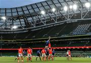 22 August 2020; Ryan Baird of Leinster wins possession in the lineout ahead of CJ Stander of Munster during the Guinness PRO14 Round 14 match between Leinster and Munster at the Aviva Stadium in Dublin. Photo by Ramsey Cardy/Sportsfile