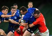 22 August 2020; Cian Healy of Leinster is tackled by JJ Hanrahan of Munster during the Guinness PRO14 Round 14 match between Leinster and Munster at the Aviva Stadium in Dublin. Photo by Ramsey Cardy/Sportsfile