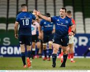 22 August 2020; Cian Healy of Leinster celebrates a Leinster try with team-mate Jonathan Sexton during the Guinness PRO14 Round 14 match between Leinster and Munster at the Aviva Stadium in Dublin. Photo by Stephen McCarthy/Sportsfile