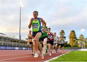 22 August 2020; Shane Healy of Metro/St. Brigid's AC, Dublin, leads the field whilst competing in the Men's 1500m heats during Day One of the Irish Life Health National Senior and U23 Athletics Championships at Morton Stadium in Santry, Dublin. Photo by Sam Barnes/Sportsfile