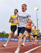 22 August 2020; Sean Tobin of Clonmel AC, Tipperary, centre, and Connor McCann of North Belfast Harriers, lead the field whilst competing in the Men's 1500m heats during Day One of the Irish Life Health National Senior and U23 Athletics Championships at Morton Stadium in Santry, Dublin. Photo by Sam Barnes/Sportsfile
