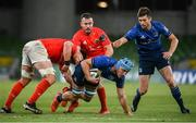 22 August 2020; Will Connors of Leinster supported by team-mate Ross Byrne is tackled by Billy Holland, left, and JJ Hanrahan of Munster during the Guinness PRO14 Round 14 match between Leinster and Munster at the Aviva Stadium in Dublin. Photo by David Fitzgerald/Sportsfile