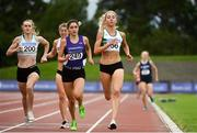 22 August 2020; Amy O'Donoghue of Emerald AC, Limerick, right, on her way to winning her Women's 1500m heat, ahead of Cheryl Nolan of St. Abbans AC, Carlow, left, and Niamh Carr of Springwell Running Club, centre, during Day One of the Irish Life Health National Senior and U23 Athletics Championships at Morton Stadium in Santry, Dublin. Photo by Sam Barnes/Sportsfile