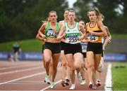 22 August 2020; Athletes, from left, Carla Sweeney of Rathfarnham WSAF AC, Dublin, Niamh Kearney of Raheny Shamrock AC, Dublin, and Michelle Finn of Leevale AC, Cork, competing in the Women's 1500m heats during Day One of the Irish Life Health National Senior and U23 Athletics Championships at Morton Stadium in Santry, Dublin. Photo by Sam Barnes/Sportsfile