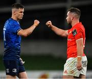 22 August 2020; Jonathan Sexton of Leinster and JJ Hanrahan of Munster embrace following the Guinness PRO14 Round 14 match between Leinster and Munster at the Aviva Stadium in Dublin. Photo by Ramsey Cardy/Sportsfile