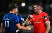 22 August 2020; Peter O'Mahony of Munster and Garry Ringrose of Leinster touch elbows following the Guinness PRO14 Round 14 match between Leinster and Munster at the Aviva Stadium in Dublin. Photo by David Fitzgerald/Sportsfile