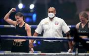 22 August 2020; Katie Taylor celebrates her victory over Delfine Persoon during their Undisputed Lightweight Titles fight at Brentwood in Essex, England. Photo by Mark Robinson / Matchroom Boxing via Sportsfile