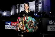 22 August 2020; Katie Taylor with her belts after her victory over Delfine Persoon during their Undisputed Lightweight Titles fight at Brentwood in Essex, England. Photo by Mark Robinson / Matchroom Boxing via Sportsfile