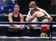 22 August 2020; Katie Taylor, left, after her Undisputed Lightweight Titles fight against Delfine Persoon at Brentwood in Essex, England. Photo by Mark Robinson / Matchroom Boxing via Sportsfile