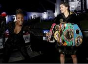 22 August 2020; Katie Taylor with her belts and Natasha Jonas after her Undisputed Lightweight Titles fight against Delfine Persoon at Brentwood in Essex, England. Photo by Mark Robinson / Matchroom Boxing via Sportsfile