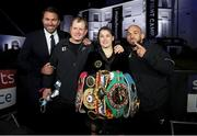 22 August 2020; Katie Taylor with, from left, promoter Eddie Hearn, manager Brian Peters and trainer Ross Enamait after her Undisputed Lightweight Titles fight against Delfine Persoon at Brentwood in Essex, England. Photo by Mark Robinson / Matchroom Boxing via Sportsfile