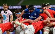 22 August 2020; Ryan Baird, left, and Scott Fardy of Leinster during the Guinness PRO14 Round 14 match between Leinster and Munster at the Aviva Stadium in Dublin. Photo by Ramsey Cardy/Sportsfile