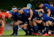 22 August 2020; Leinster forwards, from left, Seán Cronin, Ed Byrne, Will Connors, Caelan Doris and Jack Conan during the Guinness PRO14 Round 14 match between Leinster and Munster at the Aviva Stadium in Dublin. Photo by Ramsey Cardy/Sportsfile