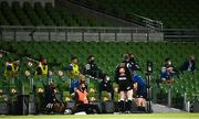 22 August 2020; The Leinster bench during the Guinness PRO14 Round 14 match between Leinster and Munster at the Aviva Stadium in Dublin. Photo by David Fitzgerald/Sportsfile