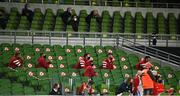 22 August 2020; The Munster bench during the Guinness PRO14 Round 14 match between Leinster and Munster at the Aviva Stadium in Dublin. Photo by David Fitzgerald/Sportsfile