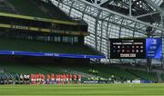 22 August 2020; The teams observe a minutes silence in honour of victims of COVID-19 prior to the Guinness PRO14 Round 14 match between Leinster and Munster at the Aviva Stadium in Dublin. Photo by David Fitzgerald/Sportsfile