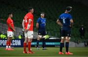 22 August 2020; The teams observe a moment in honour of the Black Lives Matter movement prior to the Guinness PRO14 Round 14 match between Leinster and Munster at the Aviva Stadium in Dublin. Photo by David Fitzgerald/Sportsfile