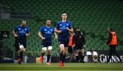22 August 2020; Jonathan Sexton of Leinster leads out his team prior to the Guinness PRO14 Round 14 match between Leinster and Munster at the Aviva Stadium in Dublin. Photo by David Fitzgerald/Sportsfile
