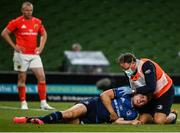 22 August 2020; Leinster Head of Medical Dr. John Ryan with Jordan Larmour during the Guinness PRO14 Round 14 match between Leinster and Munster at the Aviva Stadium in Dublin. Photo by David Fitzgerald/Sportsfile