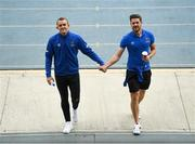 23 August 2020; Waterford players Michael O'Connor and Sam Bone hold hands prior to the SSE Airtricity League Premier Division match between Waterford and Finn Harps at RSC in Waterford. Photo by Harry Murphy/Sportsfile