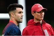22 August 2020; Conor Murray of Munster in conversation with Munster senior coach Stephen Larkham ahead of the Guinness PRO14 Round 14 match between Leinster and Munster at the Aviva Stadium in Dublin. Photo by Ramsey Cardy/Sportsfile