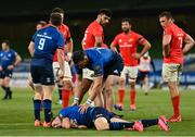 22 August 2020; Jordan Larmour of Leinster after picking up an injury during the Guinness PRO14 Round 14 match between Leinster and Munster at the Aviva Stadium in Dublin. Photo by Ramsey Cardy/Sportsfile