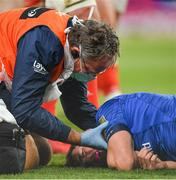22 August 2020; Jordan Larmour of Leinster receives medical attention from Leinster Head of Medical Dr. John Ryan after picking up an injury during the Guinness PRO14 Round 14 match between Leinster and Munster at the Aviva Stadium in Dublin. Photo by Ramsey Cardy/Sportsfile