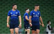 22 August 2020; Robbie Henshaw, left, and Jonathan Sexton of Leinster during the Guinness PRO14 Round 14 match between Leinster and Munster at the Aviva Stadium in Dublin. Photo by Ramsey Cardy/Sportsfile
