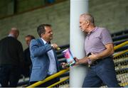 23 August 2020; Wexford senior hurling manager Davy Fitzgerald, left, and Wexford Park standby electrician John Walker prior to the Wexford County Senior Hurling Championship Final match between Shelmaliers and Naomh Éanna at Chadwicks Wexford Park in Wexford. Photo by David Fitzgerald/Sportsfile