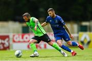 23 August 2020; Raffaele Cretaro of Finn Harps in action against Robbie McCourt of Waterford during the SSE Airtricity League Premier Division match between Waterford and Finn Harps at RSC in Waterford. Photo by Harry Murphy/Sportsfile