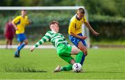 23 August 2020; Alex Murphy of Douglas Hall in action against Emmet Cronin of Killarney Celtic during the FAI Youth Cup Final match between Killarney Celtic and Douglas Hall at Mounthawk Park in Tralee, Kerry. Photo by Michael P Ryan/Sportsfile